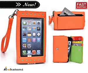 [Expose] ZTE Tania Phone Case. Universal Women's Wallet Wrist-let Clutch Purse with Thick, Frosted Screen Protector - ORANGE & GREEN