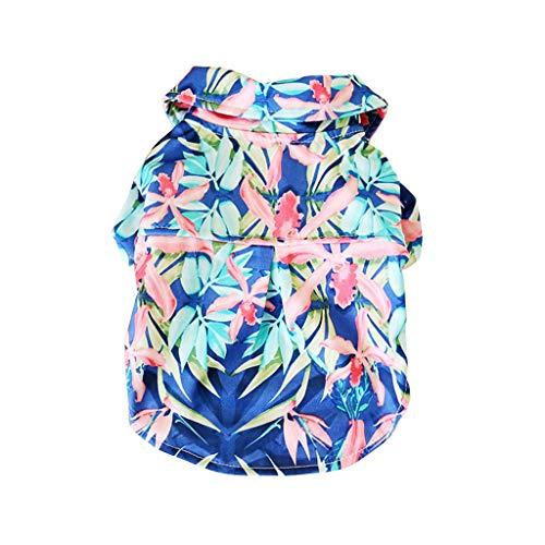 Sayhi New Pet Hawaiian Beach Print Shirt Summer Camp Clothes Casual Breathable Pet Dog Polo T Shirts(Blue,XS) ()