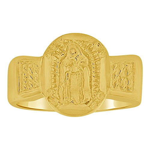 14k Yellow Gold, Small Mini Size Baby Child Kid Ring Holy Lady Virgin Design by GiveMeGold