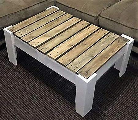 Mesa de Palets Pintada en Color Blanco y Barniz - Mesitas & Mesas Modernas de Centro & Auxiliares de Madera de Pales - Muebles De Palets para Jardin & Terraza & Salon: