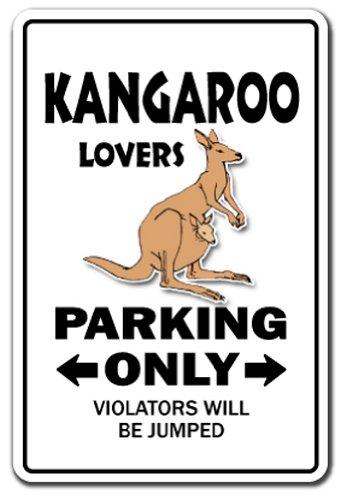 "Kangaroo Lovers Parking Aluminum Sign Australia Joey Marsupial | Indoor/Outdoor | 18"" Tall"