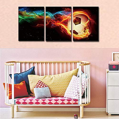 Fire Soccer HD Canvas Print 3 Pieces Painting Wall Art Home Decor Panels Sport Themes Poster For Living Room Children Gift