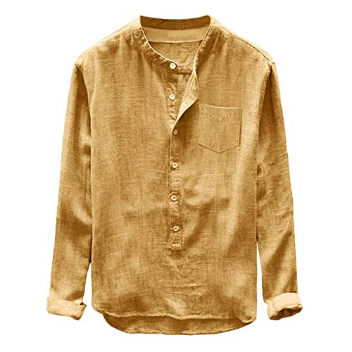 (TUSANG Mens Tees Fashion Autumn Winter Button Casual Linen and Cotton Long Sleeve Top Blouse Loose Fit Comfy Tunic(Yellow,US-14/CN-3XL))