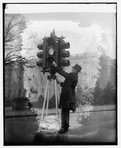 HistoricalFindings Photo: Traffic Director Eldridge inspecting Lights 1/5/26,Traffic Lights,1926