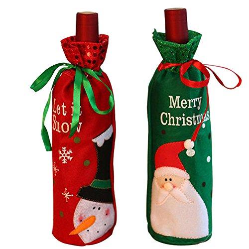 [Utosi 2pcs Christmas Red Wine Bags Christmas Gift Bags Halloween Gift Bag] (Halloween Wine Box Costume)