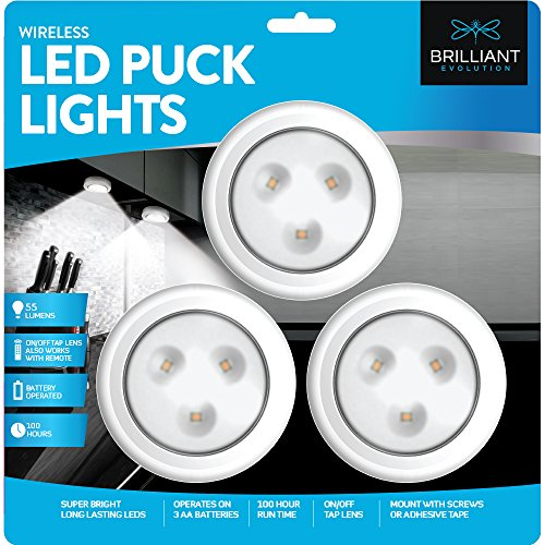Under Cabinet Halogen Lighting - Brilliant Evolution Wireless LED Puck Light 3 Pack | Works With Remote Control | LED Under Cabinet Lighting | Closet Light | Battery Powered Lights | Under Counter Lighting | Stick On Lights