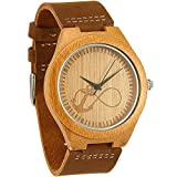 WONBEE Bamboo Wooden Watches Infinity Anchor Design with Cowhide Leather Strap Unisex,Bonus 2 Wooden Bead Bracelet
