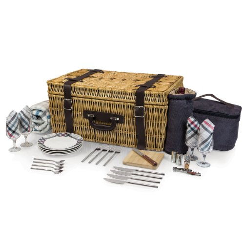 Picnic Time Carnaby Street Picnic Basket with Deluxe Service for (English Style Suitcase Picnic Basket)