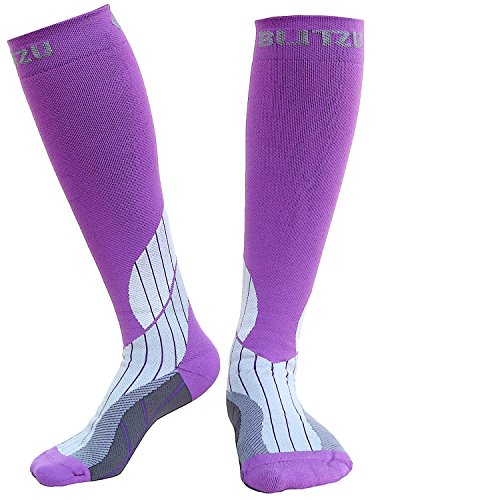 Blitzu Compression Socks 15-20mmHg for Men & Women BEST Recovery Performance Stockings for Running, Medical, Athletic, Edema, Diabetic, Varicose Veins, Travel, Pregnancy Relief Shin Splint L/XL Purple by BLITZU (Image #1)