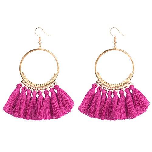 D EXCEED Fashionable Tassel Earrings Bib Gold Hoop Earrings Ethnic Tassels Dangle Earrings for Women Purple ()