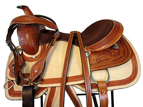 - 15 16 17 Floral Tooled Leather Horse Trail Pleasure Ranch Roper Roping Western Saddle (16 Inch)