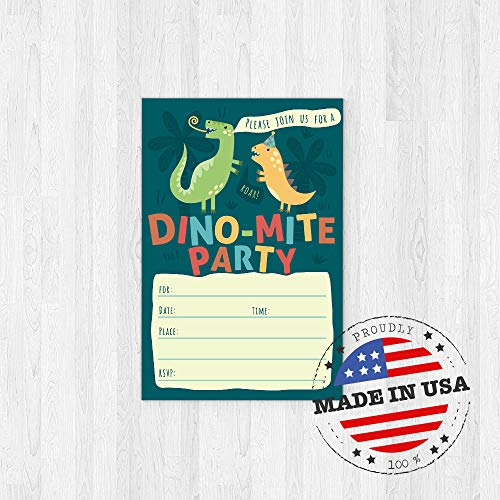 Dinosaur Kids Party Invitation Cards - Lots of Fun with a Pun! 25 High Quality Invites with Envelopes for T-Rex Kids Party, Jurassic Birthday or a Dino Themed Baby Shower. by PartyGraphix (Image #1)