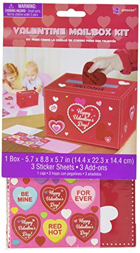 Amscan Adorable Valentine#039s Day Party Decorate Mailbox Multicolor 5 3/4 x 8 3/4 x 5 3/4Inch