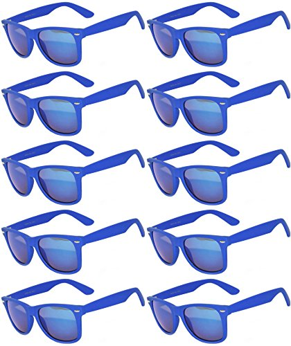 Vintage Mirrored Lens Sunglasses Matte Frame 10 Pack in Multiple Colors OWL. (10_Pairs_D_Blue_Matte, - Frame Sunglasses D