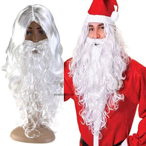 BESPORTBLE Deluxe White Santa Fancy Dress Costume Wizard Wig and Beard Set Christmas Halloween