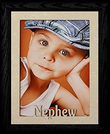 5x7 jumbo nephew portrait picture frame for a favorite aunt or uncle cream marble