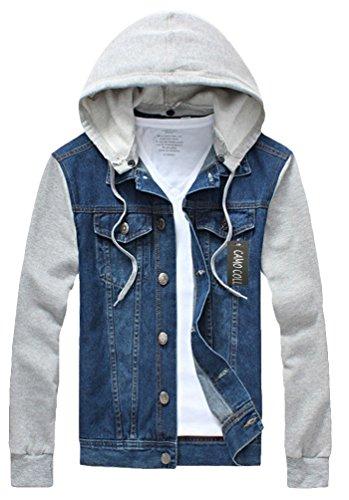 Jeans Hoodies - Camo Coll Men's Rugged Wear Denim Hoodie Jacket (L, Blue)