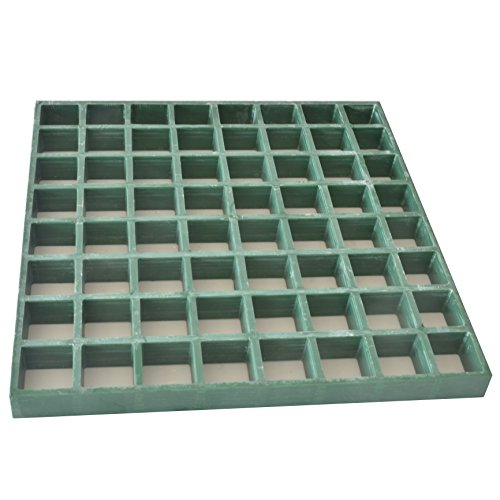 Eco Pultrusions Fiberglass Concave Square Grating 12-Inchx12-Inchx1-Inch Green Color