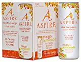 Aspire Healthy Energy, Calorie Burning, Zero Calorie, Zero Sugar Drink 4 Pack Mango Lemonade,12oz (355ml) Cans