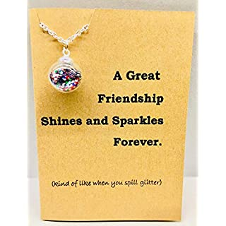 Best Friend Friendship Glitter Ball Necklace with Card and Gift Box by Dorinta