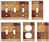 FAITH FAMILY FRIENDS PATCHWORK BROWN TONES LIGHT SWITCH COVER (2x Toggle)