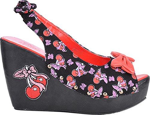 TooFast Pin Up CHERRY Rootin Tootin WEDGES Schleifen Kirschen Rockabilly Schwarz mit rot-lilafarbenen Kirschen