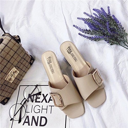 Tongs Toe Beige Chaussures OL on JITIAN Mode Heels Sandales Open Slip High Femmes Carrés Casual Mules Boucle ww8aqfYF