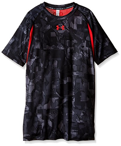 Under Armour Boys' HeatGear Printed Fitted Short Sleeve Shirt, Stealth Gray/Risk Red, Youth Small