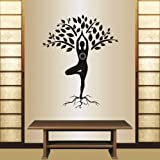 Wall Vinyl Decal Home Decor Art Sticker Silhouette Yoga Tree Pose Girl Woman Exercise Meditation Relax Fitness Room Removable Stylish Mural Unique Design For Any Room Creative Design Logo House