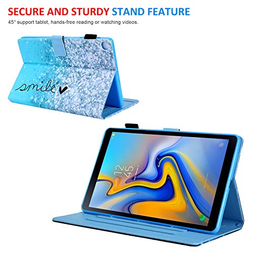 Galaxy Tab A 8.0 inch Case, T290 Case, Dteck Multiple Viewing Angles Folio Stand Protective Wallet Case with Card Slots for Samsung Galaxy Tab A 8.0 2019 Release Model T290 T295 T297, Blue Bubble
