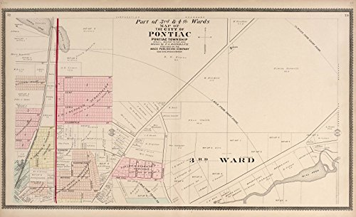 Historic 1896 Map | Illustrated Atlas of Oakland County, Michigan | Part of The 3rd & 4th Wards - Map of The City of Pontiac 36in x 24in