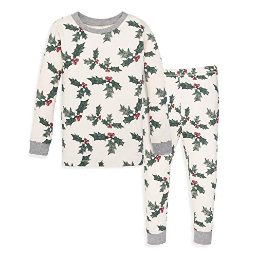 Burt's Bees Baby Baby Pajamas, Tee and Pant 2-Piece PJ Set, 100% Organic Cotton, Happy Holly, 7 Years