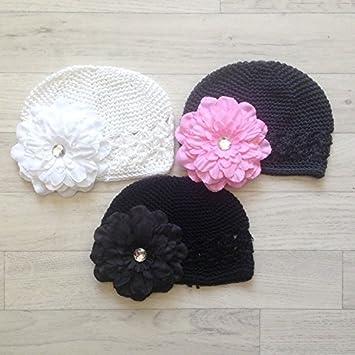 Lot de 3 gorros gancho con 3 módulos flor Petunia, Modelo color ...