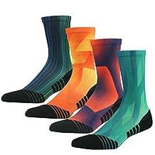 Basketball Socks, HUSO Men's Women's Trail Cushion Athletic Crew Socks 1,3,4,7 Pack