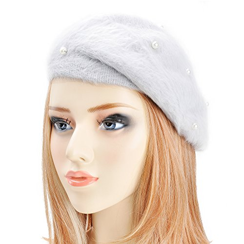 ZLYC Womens Rabbit Fur French Beret Hat with Pearl Ornament by, Gray