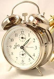 Sternreiter Double Bell Mechanical Wind Alarm Clock - Silver