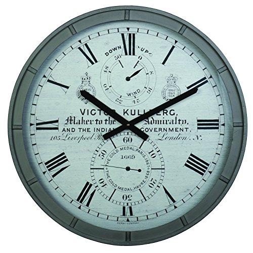 Derby Kullberg Decorative Wall Clock, Vintage Unique Wall Clock for Outdoor and Home Decor, Gray