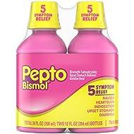 Pepto Bismol Liquid, 12 fl oz, 2 Pack, Nausea, Heartburn, Indigestion, Upset Stomach, and Diarrhea Relief, Original Flavor