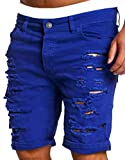 XiaoTianXin-men clothes XTX Men Summer Casual Short Jeans Destroyed Knee Length Hole Ripped Pants Royal Blue M