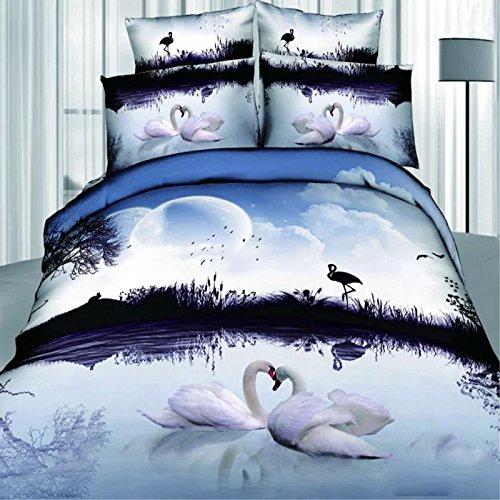 DHWM-Pure Cotton three dimensional flower paintings 4 piece set, cotton twin bedding sheets set, Home Bedding 4 piece set ,1.8m