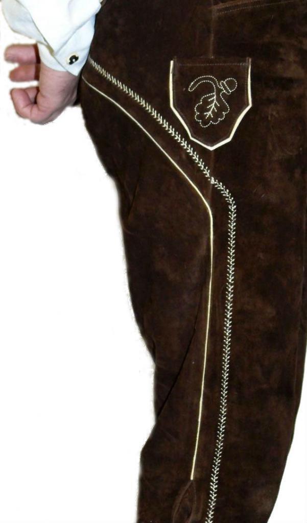 2-Piece Leather German Oktoberfest Lederhosen Shorts Pants 38 Brown