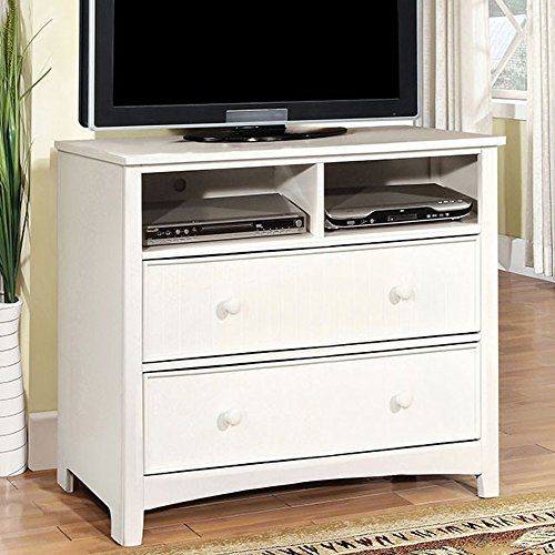 Chest White Tv (Furniture of America CM7905WH-TV Omnus White Media Drawer Chest)