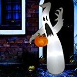 Sunlit 8 Ft Halloween Inflatable Air Blown Ghost with Pumpkin with Blower and Adapter, Lighted for Home Yard Garden Indoor Porch...