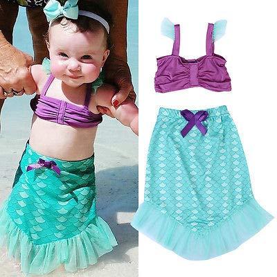 Baby Girls Little Mermaid Set Costume Bikini Swimwear Swimsuit Outfits Dress