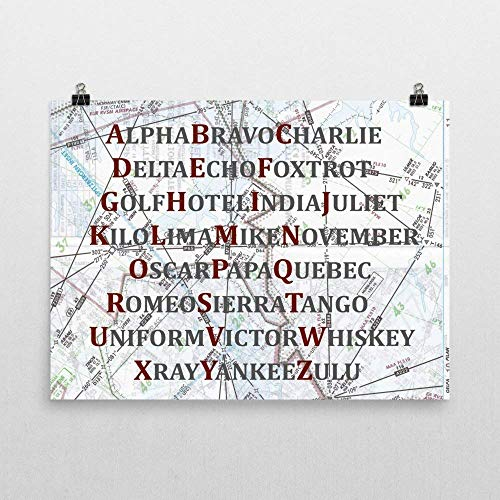 - Aviation Phonetic Alphabet Map Art Print, Airplane Themed Nursery Gift, Maroon and Gray