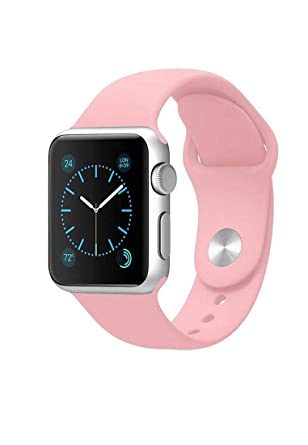 66a16a5e6 Soft Silicon Plain Apple Watch Strap Band light Pink Color 38mm ...