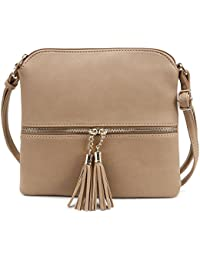 Tassel Accent Medium Crossbody Bag Taupe
