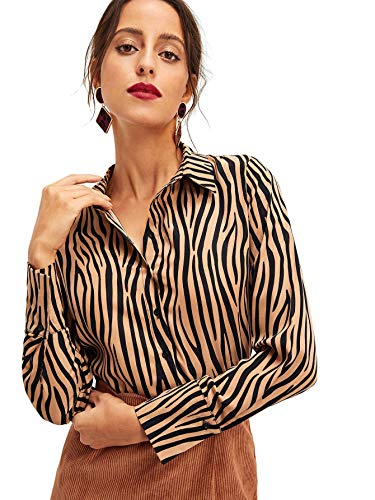 WDIRARA Women's Long Sleeve Button Down Shirt Dip Hem Leopard Print Blouse Top Multicolor - Animals Small Dips