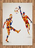 Sports Area Rug by Ambesonne, Abstract Design with Football Soccer Players in Geometrical Colorful Shapes Print, Flat Woven Accent Rug for Living Room Bedroom Dining Room, 5.2 x 7.5 FT, Multicolor