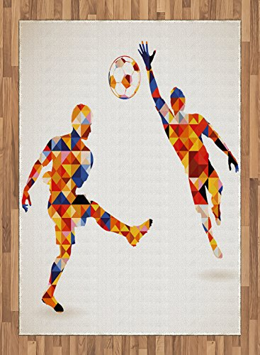 Sports Area Rug by Ambesonne, Abstract Design with Football Soccer Players in Geometrical Colorful Shapes Print, Flat Woven Accent Rug for Living Room Bedroom Dining Room, 5.2 x 7.5 FT, Multicolor by Ambesonne